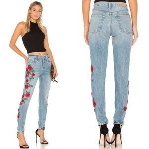 GRLFRND Karolina Floral Beaded Jeans Endless Love